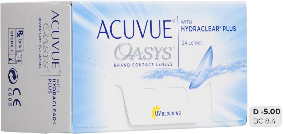 Контактные линзы Acuvue Oasys Hydraclear Plus Двухнедельные -5/14.3/8.4 24шт