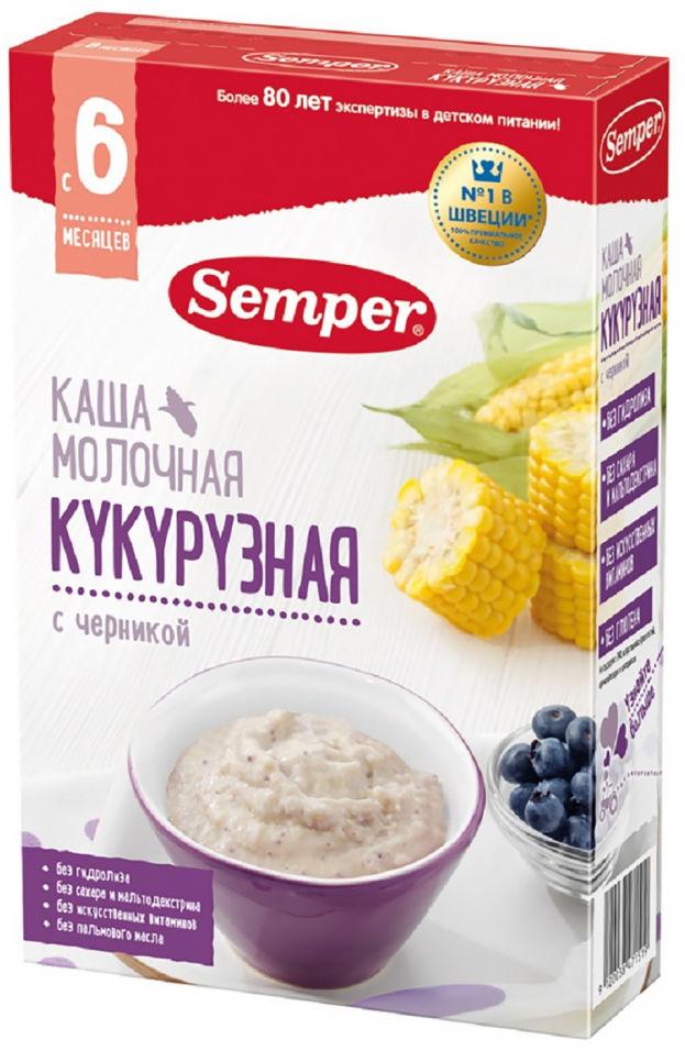 Каша Semper Кукурузная с черникой молочная с 6 месяцев 180г (упаковка 2 шт.)