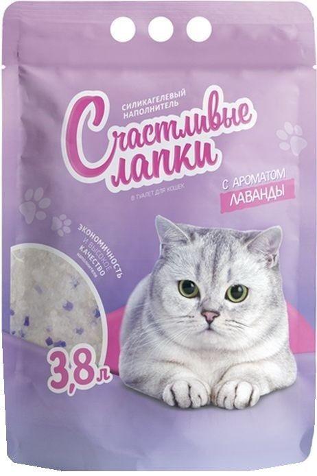 Наполнитель для кошачьего туалета Счастливые Лапки силикагелевый с ароматом лаванды 3.8л