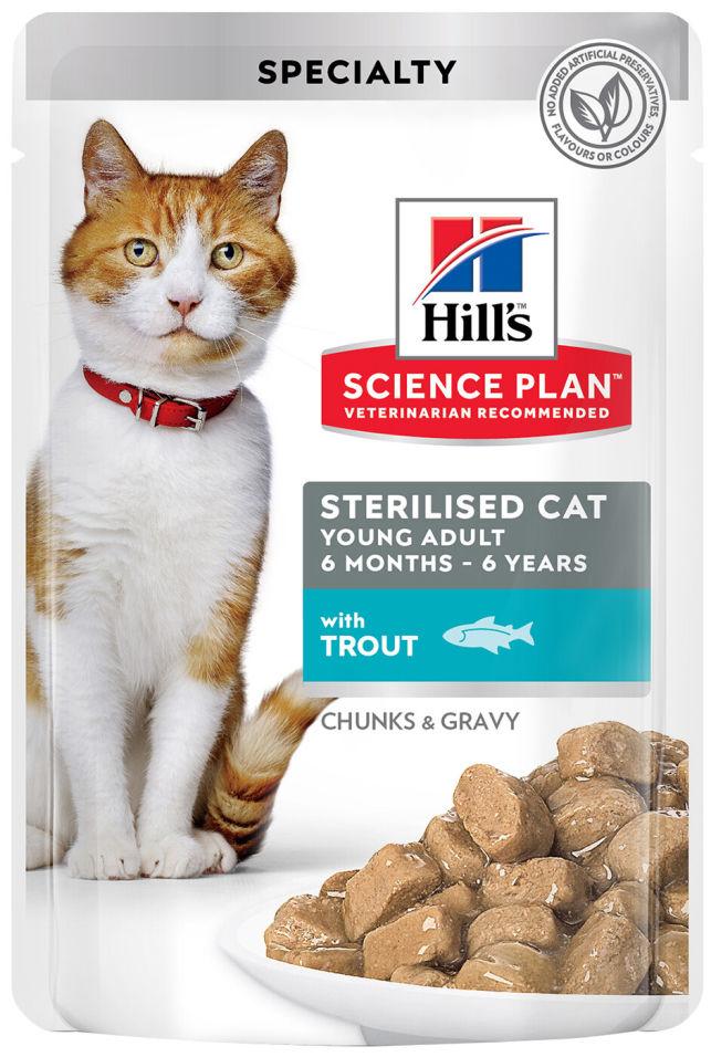 Отзывы о Влажном корме для стерилизованных кошек и кастрированных котов Hills Science Plan Sterilised Cat с форелью 85г