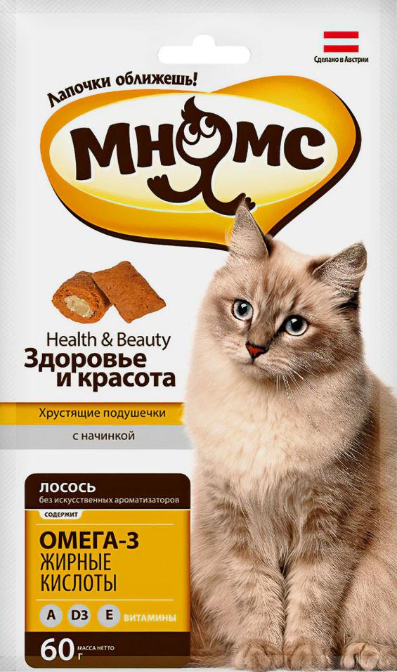 Отзывы о Лакомстве для кошек Мнямс хрустящие подушечки Здоровье и красота с лососем 60г