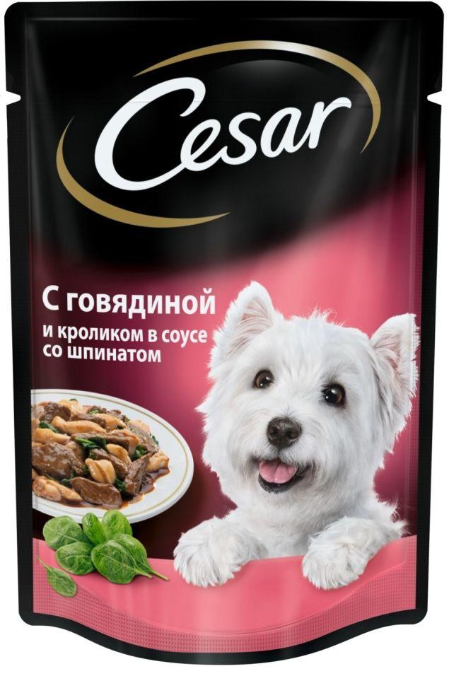 Корм для собак Cesar из говядины и кролика в соусе со шпинатом 100г