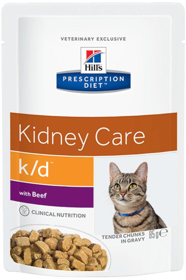 Влажный корм для кошек Hills Prescription Diet k/d при хронической болезни почек с говядиной 85г