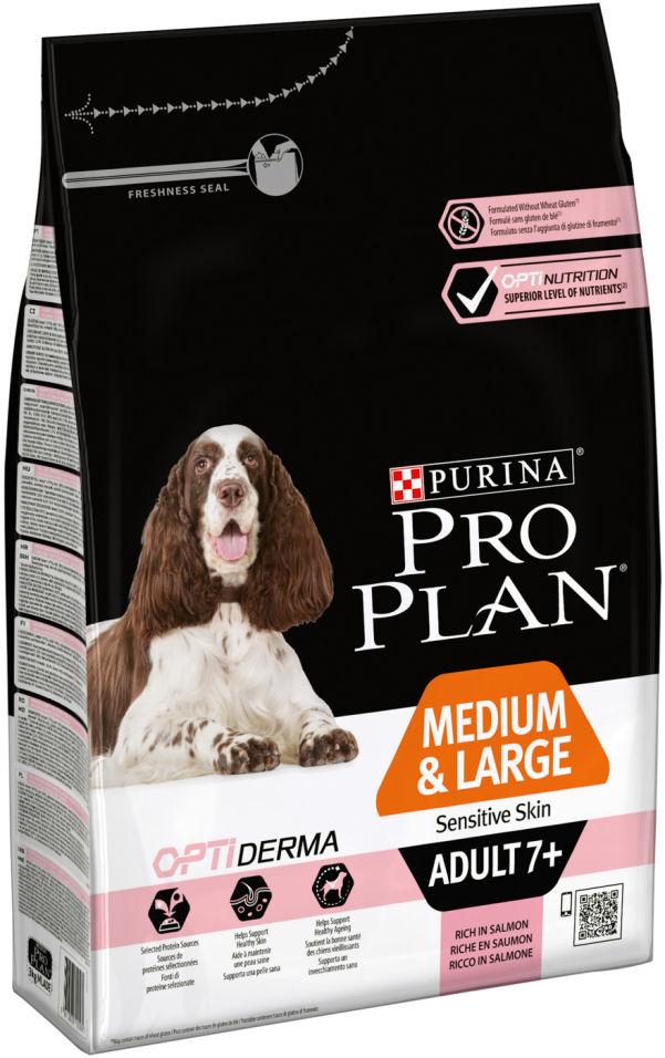 Сухой корм для собак Pro Plan Optiderma Medium&Large Adult 7+ с лососем и рисом 3кг