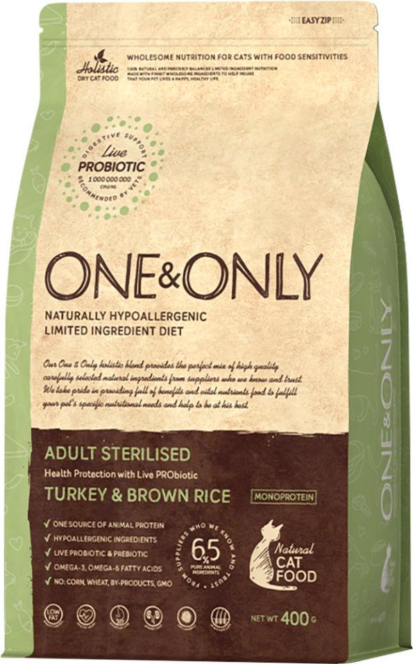 Сухой корм для кошек One&Only Adult sterilised индейка с рисом 400г