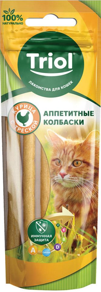 Лакомство для кошек Triol Аппетитные колбаски Курица и Треска 40г