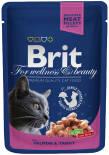 Корм для кошек Brit Premium Кусочки с лососем и форелью 100г