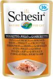 Корм для кошек Schesir Тунец цыпленок с креветками 50г
