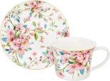 Чайная пара Elan Gallery Яблоневый цвет на белом чашка и блюдце 270мл