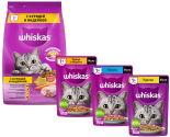 Набор корма для кошек Whiskas желе с курицей и индейкой 75г + Желе с лососем 75г + Желе с курицей 75г + Вкусные подушечки с паштетом Ассорти с курицей и индейкой 1.9кг