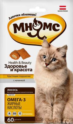 Лакомство для кошек Мнямс хрустящие подушечки Здоровье и красота с лососем 60г