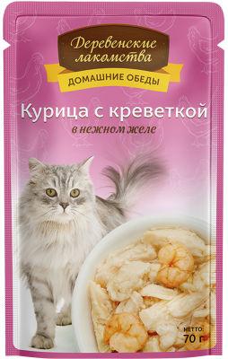 Корм для кошек Деревенские лакомства Курица с креветкой в нежном желе 70г