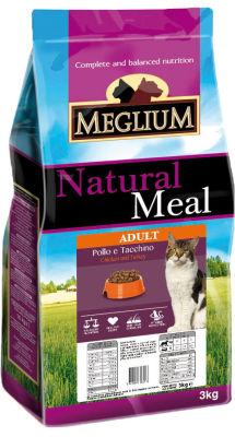 Сухой корм для привередливых кошек Meglium Adult Курица и Индейка 3кг