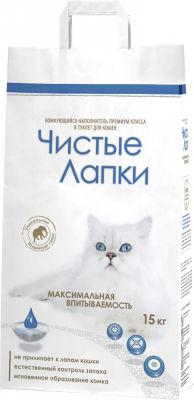 Наполнитель для кошачьего туалета Чистые лапки комкующийся 15кг