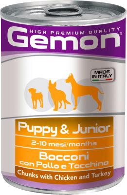 Корм для щенков Gemon Dog кусочки курицы с индейкой 415г
