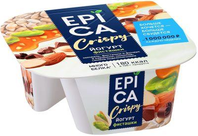 Йогурт Epica Crispy Фисташки 4.8% + Смесь из семян орехов и темного шоколада 140г