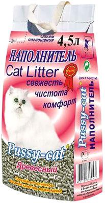 Наполнитель для кошачьего туалета Pussy-Cat древесный 4.5л