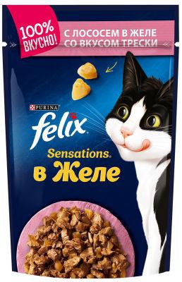 Корм для кошек Felix Sensations с лососем в желе со вкусом трески 85г