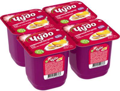 Йогуртер Чудо Персик-маракуйя сливочный 5.1% 4шт*115г