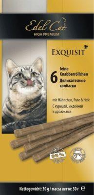 Лакомство для кошек Edel Cat колбаски с курицей индейкой и дрожжами 6шт