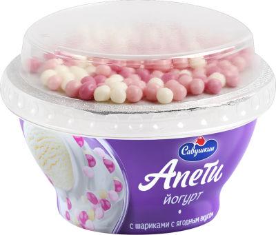 Йогурт Апети Пломбир ягоный с рисовыми шариками 5% 105г
