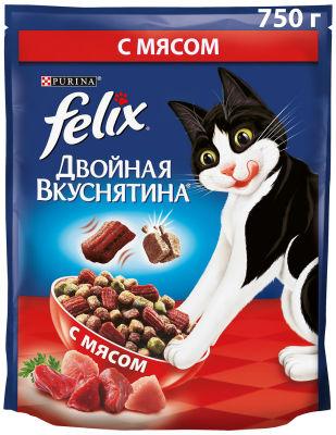Сухой корм для кошек Felix Двойная Вкуснятина с мясом 750г