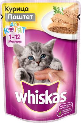 Корм для котят Whiskas Мясной паштет с курицей 85г